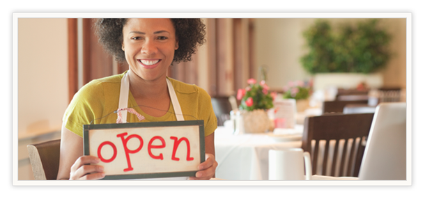 "Custom Sign with woman holding ""open"" sign"